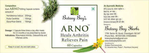 ARNO Heals Arthritis Relieves Pain label
