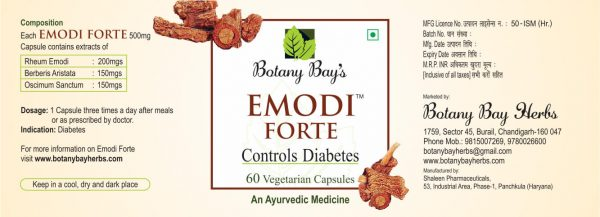 Emodi Forte Diabetes control label